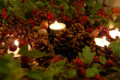candles and pine cones