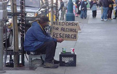 bum needs cash for alcohol research