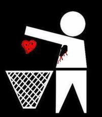 throwing heart in trash