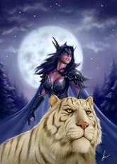 warrior woman with her tiger