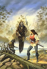 female warrior approached by floating skeleton warrior
