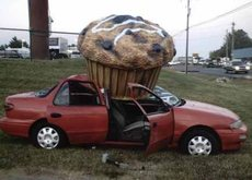giant cupcake smashes car