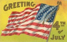 Greeting 4th of July flag