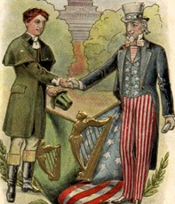 Irish & American shaking hands