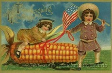 thanksgiving greetings little kid riding giant corn cob