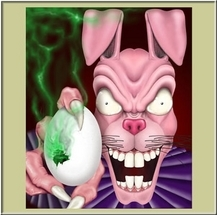 evil easter bunny with toxic easter egg