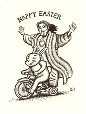 happy easter jesus riding on bike with easter bunny