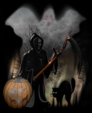 grim reaper ghost black cat jack o lantern