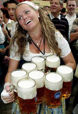 barmaid with eight beers