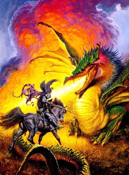 green dragon blows flames on knight
