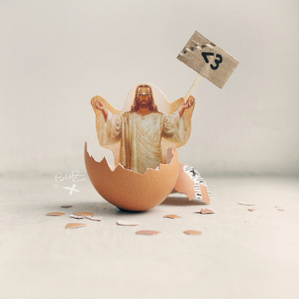 jesus hatches out of easter egg