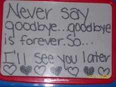 never say goodbye goodbye is forever so i'll see you later