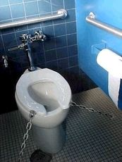 toilet seat chained down