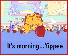 it's morning yippee garfield