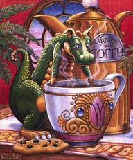 dragon drinking coffee