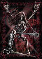 metal skeleton with guitar