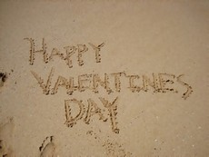 happy valentines day sand