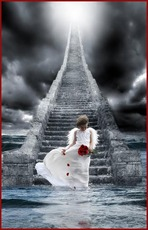 angel in front of stairway to heaven